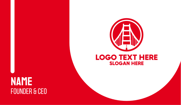 san francisco - Red Round Bridge  Business card horizontal design