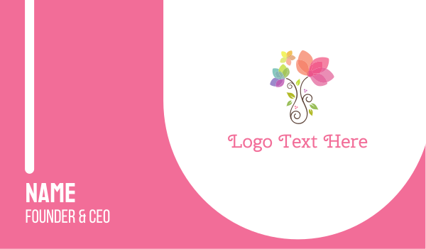 pink flower - Cute Flower Pot Business card horizontal design