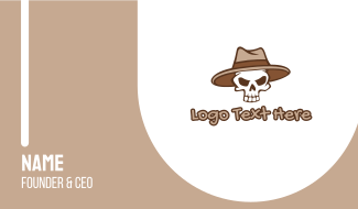 Fedora Skull Hat Business Card