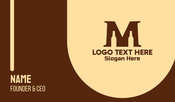 drinks - Beer Bottle Letter M  Business card horizontal design