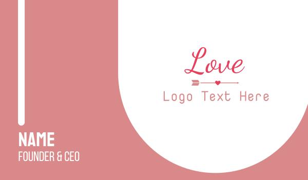pink arrow - Love Wedding Wordmark Business card horizontal design
