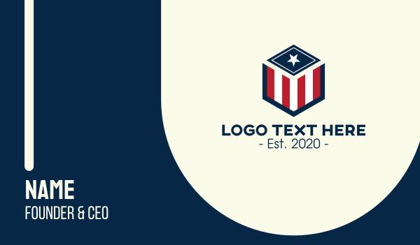Patriotic Hexagon Shield Business Card