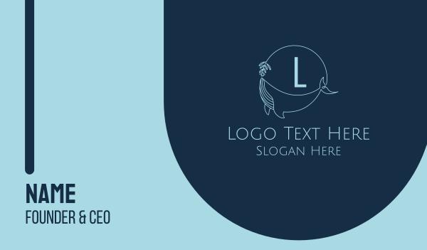 creations - Feminine Whale Lettermark Business card horizontal design