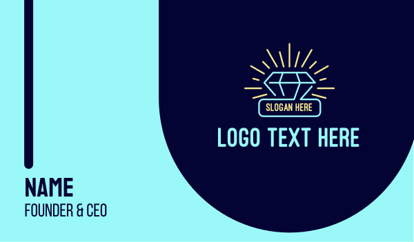 gambling - Neon Diamond Gem Business card horizontal design