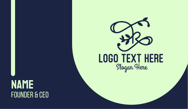 aesthetic - Blue Swirly Cursive Floral Letter K Business card horizontal design