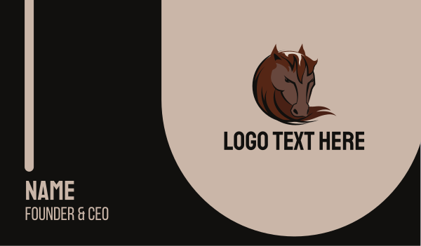 brown horse - Wild Horse Head Business card horizontal design