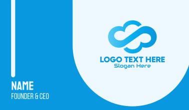Blue Gradient Tech Cloud Business Card