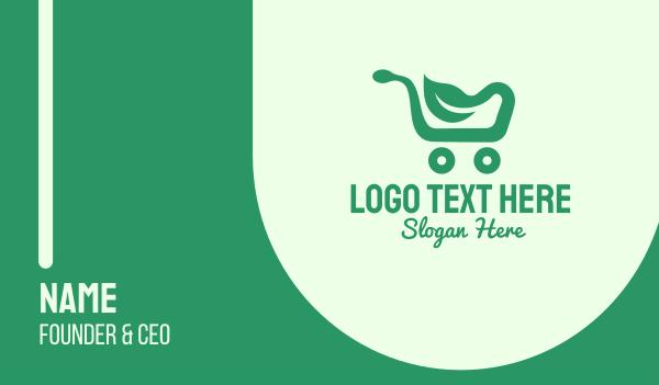 minimart - Green Eco Shopping Cart Business card horizontal design