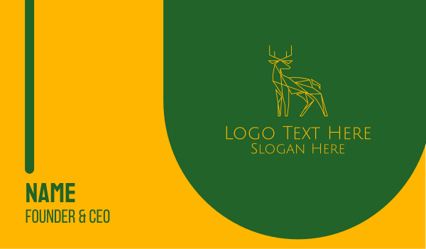 green and yellow - Minimal Deer Business card horizontal design