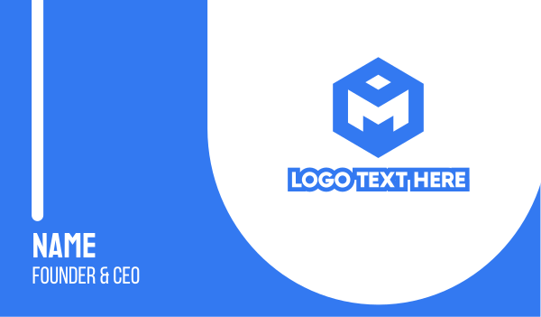 blue hexagon - Blue Cube M Business card horizontal design