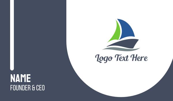 marine - Abstract Sail Boat Business card horizontal design