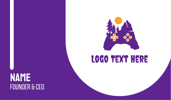 gaming community - Purple Creepy Controller Business card horizontal design