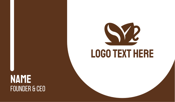 brown cup - Coffee Bean Leaf Cup Business card horizontal design