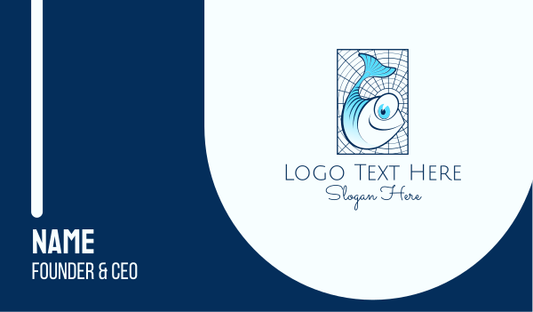 blue fish - Blue Fish Cartoon Business card horizontal design