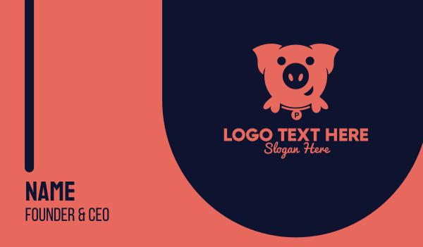 farming - Pink Pig Business card horizontal design