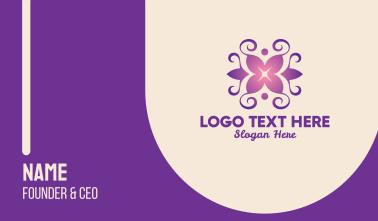 Purple Yoga Lily Wreath Business Card