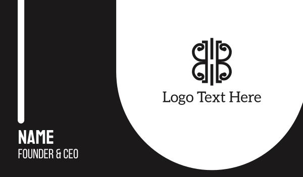 uk - Abstract B&W Shape Business card horizontal design