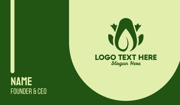 pond - Green Leaf Frog Business card horizontal design