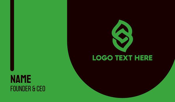 interlaced - Laced Leaf Outline  Business card horizontal design