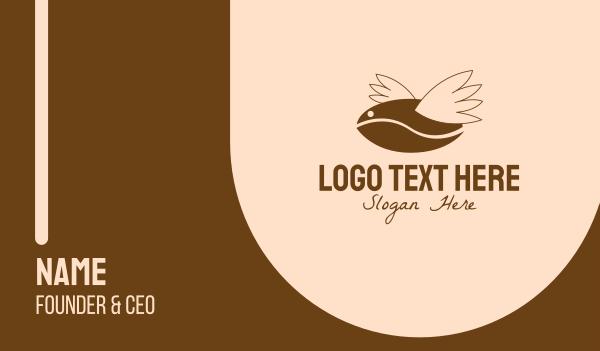 brewed - Flying Coffee Bean Business card horizontal design