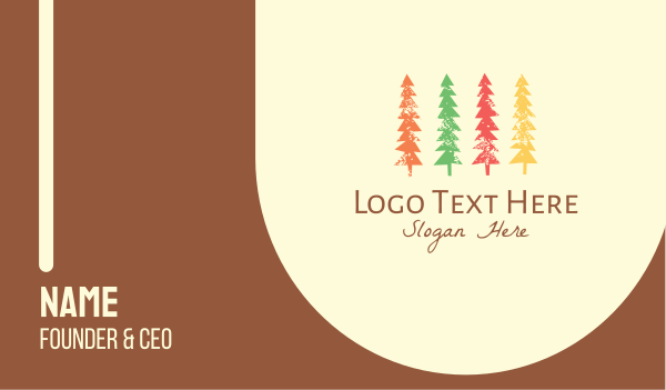 wood - Colorful Pine Tree Business card horizontal design