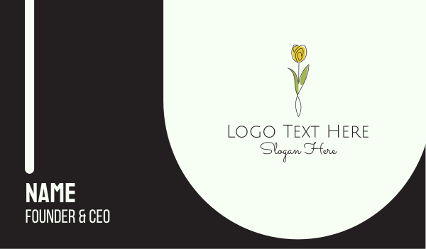 yogi - Minimalist Yellow Tulip Business card horizontal design