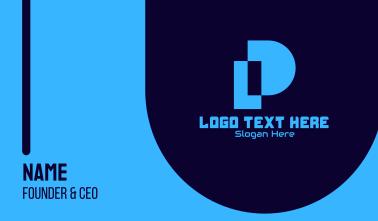 Blue Pixel Tech Letter P Business Card