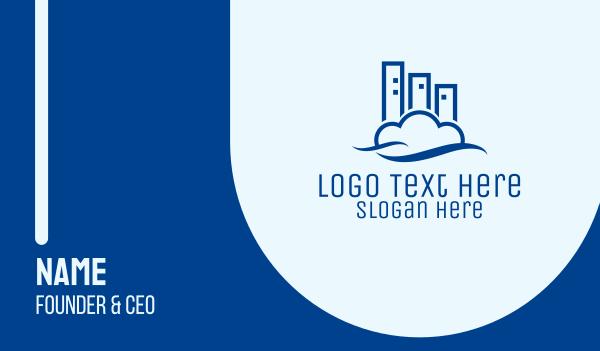 development - Modern Cloud Building Business card horizontal design