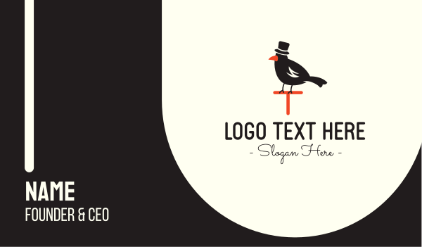 formal - Black Bird Hat Business card horizontal design