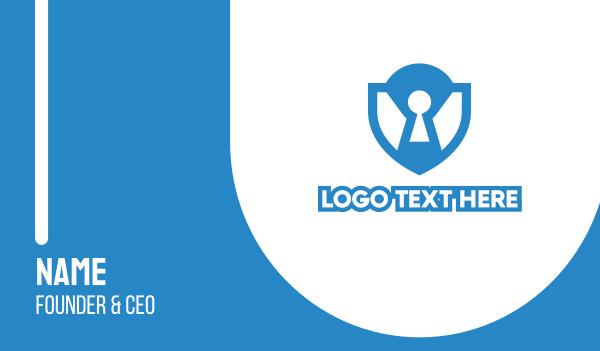 file sharing - Blue Lock Shield  Business card horizontal design