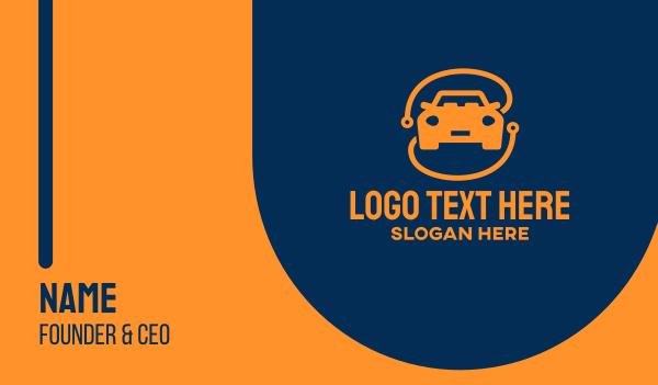 smart car - Modern Orange Car Business card horizontal design