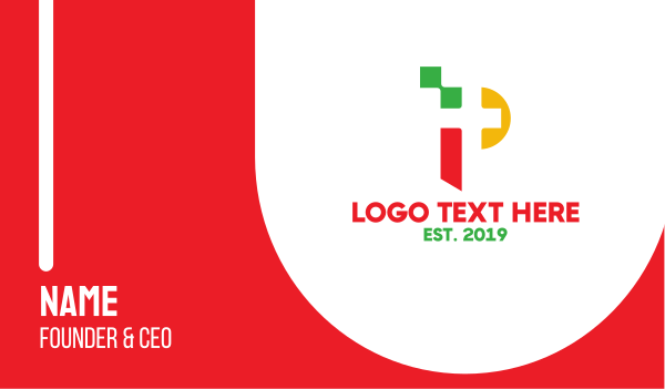data transfer - Colorful Pixel P Business card horizontal design