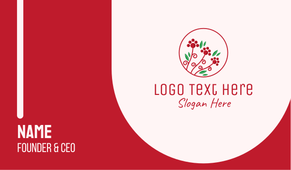 green thumb - Christmas Holly Plant Business card horizontal design