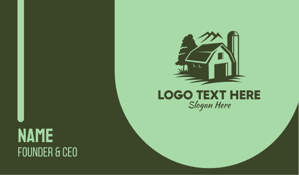 barn - Rustic Green Farmhouse Business card horizontal design