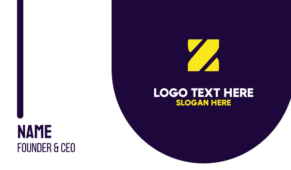 purple and yellow - Stencil Yellow Z Business card horizontal design