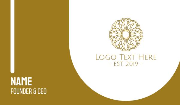 detailed - Gold Flower Business card horizontal design
