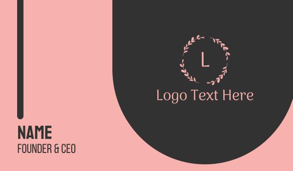 letter - Pink Floristic Letter Business card horizontal design