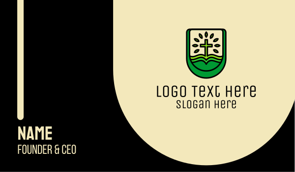 catholic - Green Eco Church  Business card horizontal design
