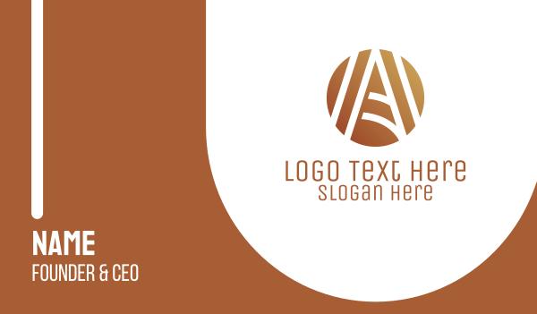 bronze - Abstract Golden Letter A Business card horizontal design