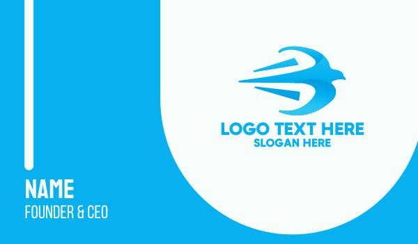 speedy - Fast Blue Bird Business card horizontal design