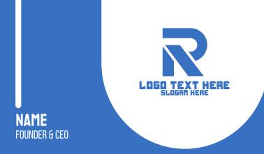 Blue Modern R Business Card