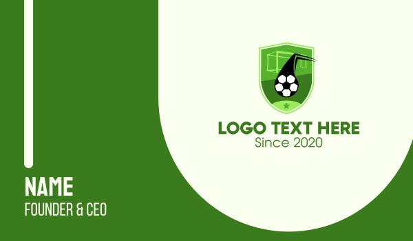 soccer coach - Soccer Goal Shield Business card horizontal design