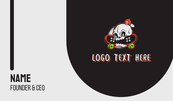 rocker - Skateboarding Skull Business card horizontal design