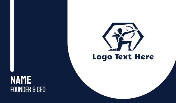 person - Blue Archer Hexagon Business card horizontal design