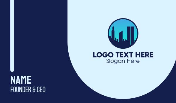 blue city - Manhattan NY Skyline Business card horizontal design