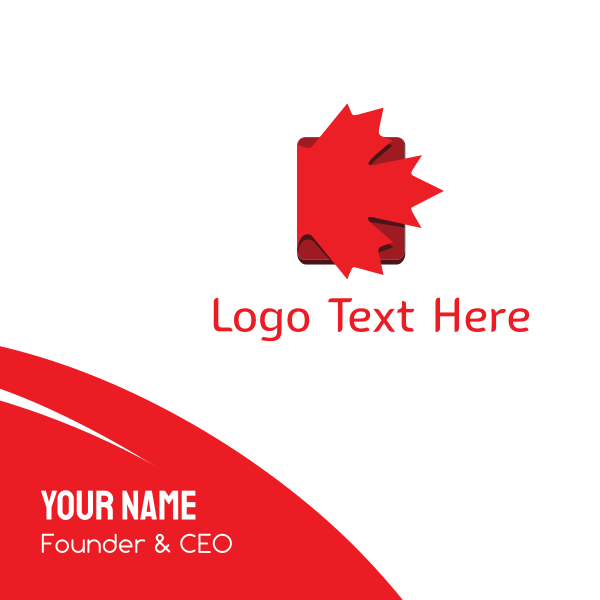 Red Maple Leaf Book Business Card