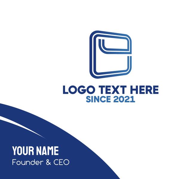 Squared Letter E Business Card