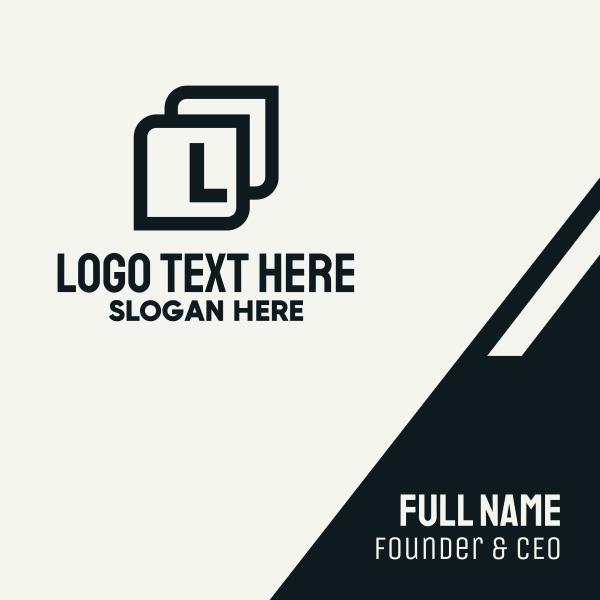 Black Square Lettermark Business Card