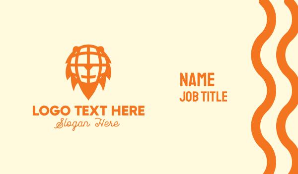 world - Orange Lion Globe Business card horizontal design