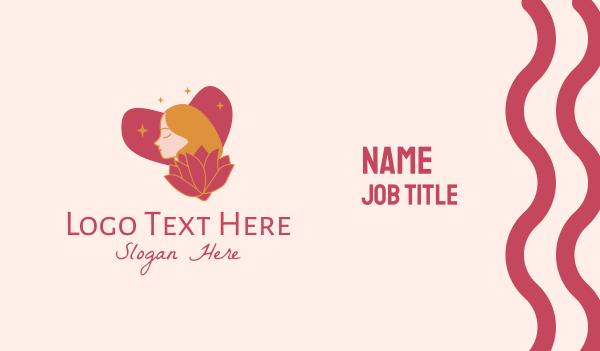 sparkles - Flower Heart Lady  Business card horizontal design